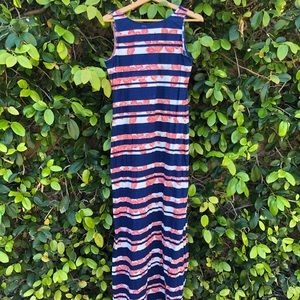 Tommy Bahama Floral Striped Maxi Dress Size M/L